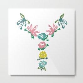 Floral Y Monogram Metal Print