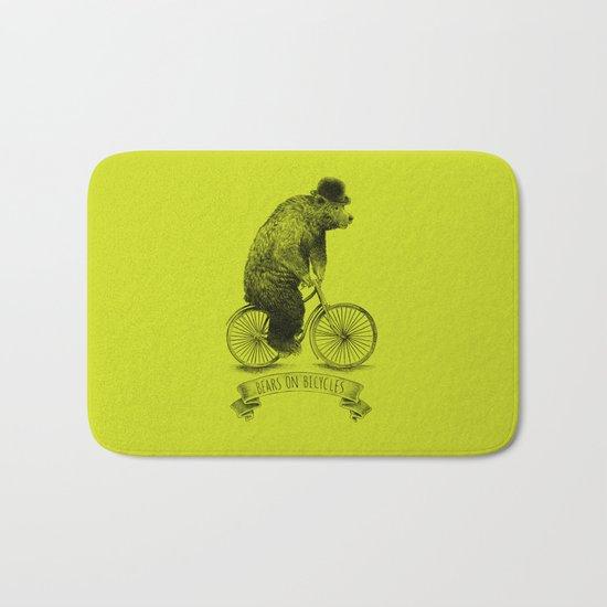 Bears on Bicycles (Lime) Bath Mat