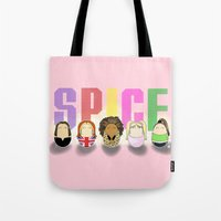 spice girls Tote Bags featuring Spice Girl Tiggles by Laura's Lovelies