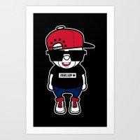 hiphop Art Prints featuring 30Billion - Hiphop Bear 01 by 30Billion
