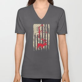 Deer Hunting Gifts Bow And Arrow American USA Hunter Gift Unisex V-Neck