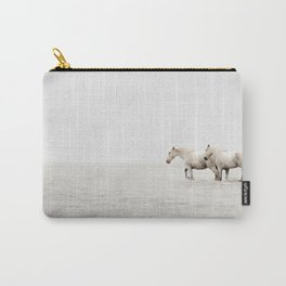 White Camargue Horses - Minimalist Nature Photography Carry-All Pouch
