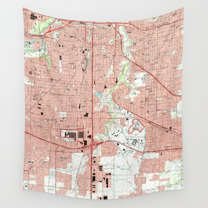 Fort Worth Texas Map (1995) Wall Tapestry by bravuramedia