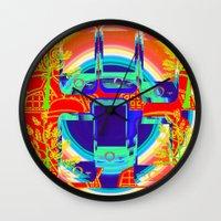 technology Wall Clocks featuring technology & Nature by Kathead Tarot/David Rivera