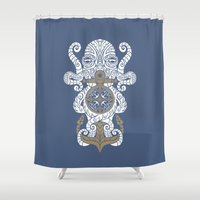 maori Shower Curtains featuring Octopus anchor and compass in tribal style by pakowacz