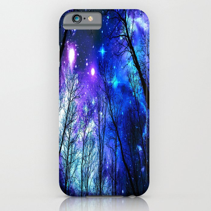 black trees purple blue space iphone case