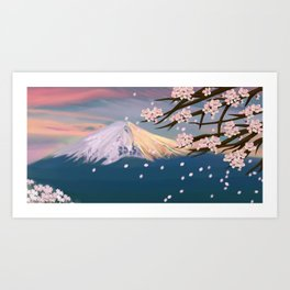 mt. fuji and cherry blossoms Art Print