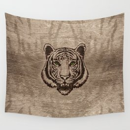 Tiger  pyrograph on wood Wall Tapestry