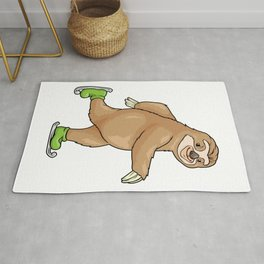 Funny sloth at ice skating Rug