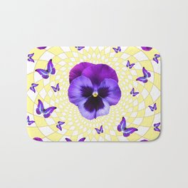 PURPLE BUTTERFLIES & PANSIES GEOMETRIC PATTERN Bath Mat