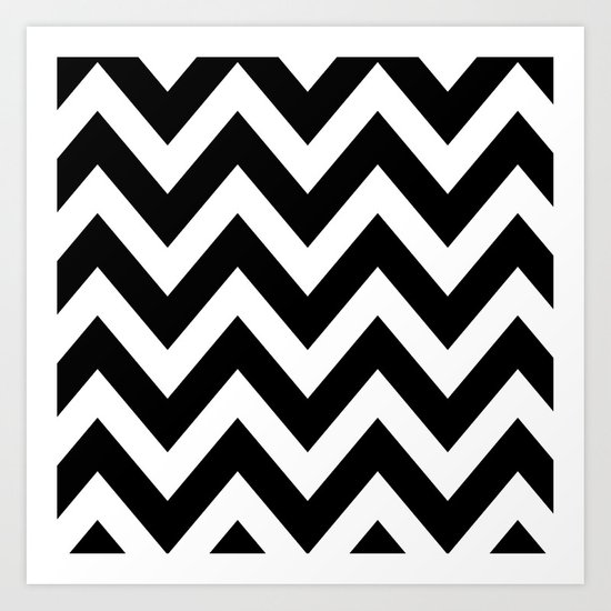 BLACK AND WHITE CHEVRON Art Print