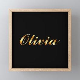 Name of a girl Olivia in golden letters Framed Mini Art Print