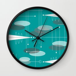 Mid-Century Modern Ovals Teal Wall Clock