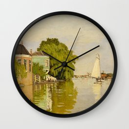 Claude Monet - Houses on the Achterzaan (1871) Wall Clock