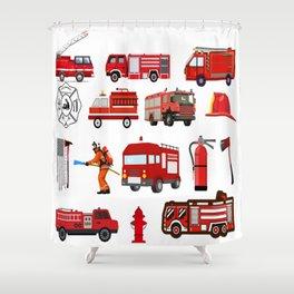 Fire Trucks Emergency Fire Hydrant Shower Curtain