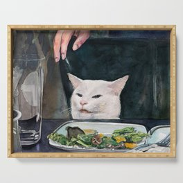 Woman Yelling at Cat Meme-2 Serving Tray