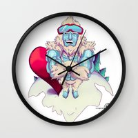 snowboard Wall Clocks featuring Snowboard Yeti by garciarts