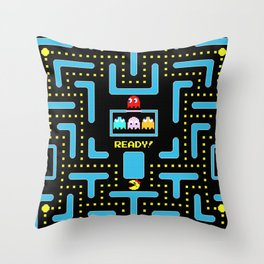 pac-man blue Throw Pillow