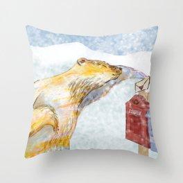 Valentines polar bear Throw Pillow