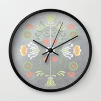 folk Wall Clocks featuring Folk by Marta Olga Klara