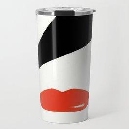 Retro Fashion Model with Stylish Hair and Red Lipstick Travel Mug