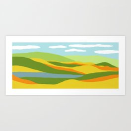 Moutains and River in Fall Art Print