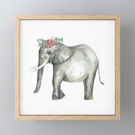 Ellie the Elephant and her flower crown Framed Mini Art Print
