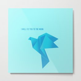 Fly Me to the Moon - Origami Blue Bird Metal Print