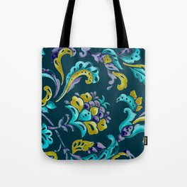 Scroll - Hand Painted Teal Ground Tote Bag