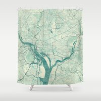 washington Shower Curtains featuring Washington Map Blue Vintage by City Art Posters