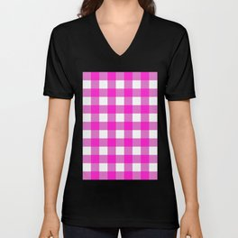 Gingham (Hot Magenta/White) Unisex V-Neck