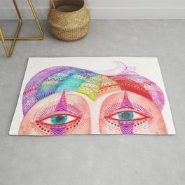 trust the clown mask portrait Rug