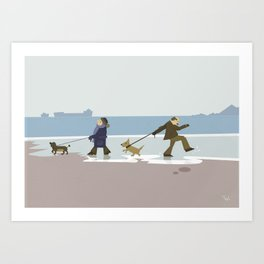 Dog Walkies Beach Wall Art, Beach Art Nursery Decor, Nursery Wall Art for Boys Room Art Print