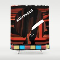 hollywood Shower Curtains featuring Hollywood by AndISky