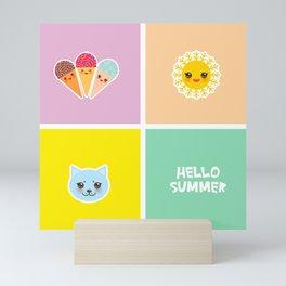 Hello Summer bright tropical card design, ice cream, sun, cat. Kawaii cute face. Mini Art Print