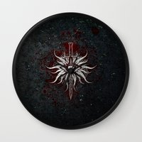 dragon age inquisition Wall Clocks featuring The Inquisition by Toronto Sol