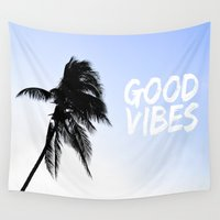 palm tree Wall Tapestries featuring Palm by mbzphotog