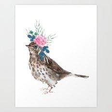 Boho Chic wild bird With Flower Crown Art Print