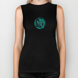 Teal Blue and Black Yin Yang Koi Fish Biker Tank