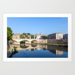 Emanuele II bridge and St. Peter's Basilica - Rome, Italy Art Print