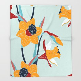 Mid Century spring floral Throw Blanket