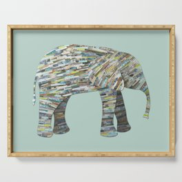 Elephant Paper Collage in Gray, Aqua and Seafoam Serving Tray