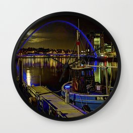 Moon light sky over the the  Newcastle Tyne river   Wall Clock