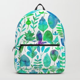 Modern green aqua blue watercolor greenery leaves Backpack