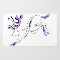 jackalope Area & Throw Rugs featuring Jackalope - Lilac by Jen Overstreet