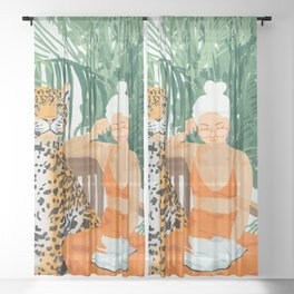 Jungle Vacay #painting #illustration Sheer Curtain
