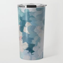 Mint Green Sky Blue Teal Blush Pink Abstract Nature Flower Wall Art, Spring Blossom Painting Travel Mug