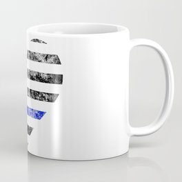 Thin Blue Line Police Officer LEO USA America Flag Heart Gift Cop Sherrif Blue Lives Matter Coffee Mug