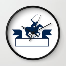 Polo Player Riding Horse Ribbon Retro Wall Clock