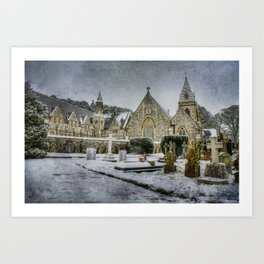 Priory In The Snow Art Print